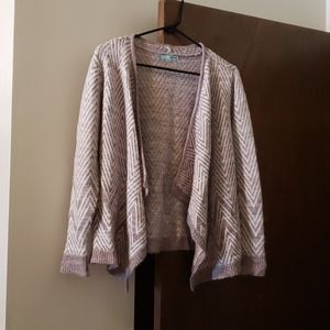 Maurices white & purple cardigan